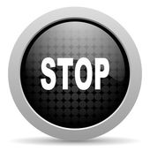 Stop black circle web glossy icon — Stock Photo