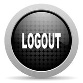 Logout black circle web glossy icon — Stock Photo