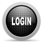 Login black circle web glossy icon — Stock Photo