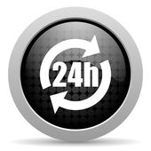 Icône de papier glacé web 24h de cercle noir — Photo