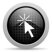 Click here black circle web glossy icon — Stock Photo
