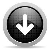 черный круг веб глянцевой иконка стрелка вниз — Стоковое фото