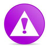 Warning violet circle web glossy icon — Stock Photo