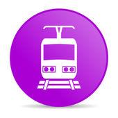 Train violet circle web glossy icon — Stock Photo
