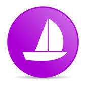 Yacht violet circle web glossy icon — Stock Photo