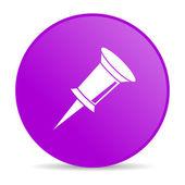 Círculo violeta web brillante icono — Foto de Stock