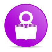 Book violet circle web glossy icon — Stock Photo