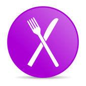 Jedzenie fioletowy koło www błyszczący ikona — Zdjęcie stockowe