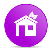 Hem violett cirkel web blanka ikonen — Stockfoto