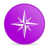 Compass violet circle web glossy icon — Stock Photo