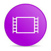 Movie violet circle web glossy icon — Stock Photo