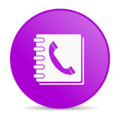 Phonebook violet circle web glossy icon — Stock Photo