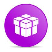 Box violet circle web glossy icon — Stock Photo