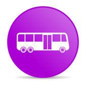 Bus violet circle web glossy icon — Stock Photo
