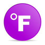 по фаренгейту фиолетовый круг веб глянцевой значок — Стоковое фото