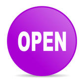 Open violet circle web glossy icon — Stock Photo