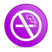 No smoking violet circle web glossy icon — Stock Photo