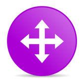 Strzałki fioletowy koło www błyszczący ikona — Zdjęcie stockowe
