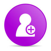 Add contact violet circle web glossy icon — Stock Photo