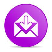 Violet cirkel web glanzende postpictogram — Stockfoto
