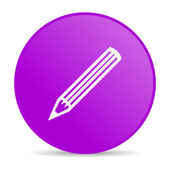 Pencil violet circle web glossy icon — Stock Photo