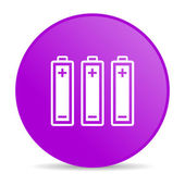 Batteries violet circle web glossy icon — Photo