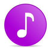 Müzik Menekşe daire web parlak simgesi — Stok fotoğraf