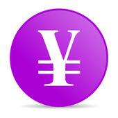 йен фиолетовый круг веб глянцевой значок — Стоковое фото