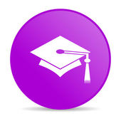 Graduation violet circle web glossy icon — Stock Photo