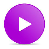 играть фиолетовый круг веб глянцевой значок — Стоковое фото