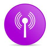 Wifi menekşe daire web parlak simgesi — Stok fotoğraf