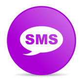 Sms violet circle web glossy icon — Stock Photo