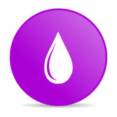 Water drop violet circle web glossy icon — Stock Photo