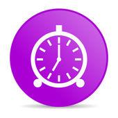 闹钟紫圈 web 光泽图标 — 图库照片