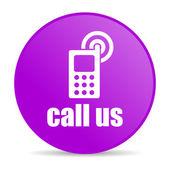 позвоните нам фиолетовый круг веб глянцевой значок — Стоковое фото