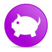 копилка фиолетовый круг веб глянцевой значок — Стоковое фото