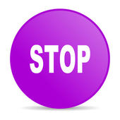 Stop violet circle web glossy icon — Stock Photo