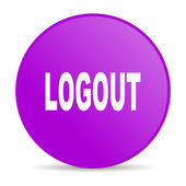 Logout violet circle web glossy icon — Stock Photo