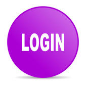 Login violet circle web glossy icon — Stock Photo
