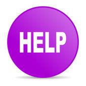 ícone de brilhante ajuda violeta círculo web — Foto Stock