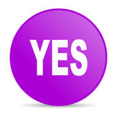 Yes violet circle web glossy icon — Stock Photo
