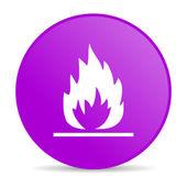 Lågor violetta cirkel web glansigt ikonen — Stockfoto