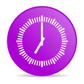 Clock violet circle web glossy icon — Stock Photo