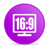 16 9 display violet circle web glossy icon — Stock Photo