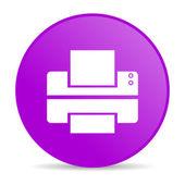 Printer violet circle web glossy icon — Stock Photo