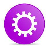 Biegów fioletowy koło www błyszczący ikona — Zdjęcie stockowe