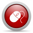 Mouse red circle web glossy icon — Stock Photo #24945131