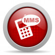 Mms red circle web glossy icon — Foto Stock #24945155