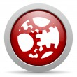 Gears red circle web glossy icon - Lizenzfreies Foto