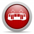 Tram red circle web glossy icon — Stock Photo #24945363